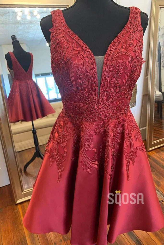 Double Straps V-neck Appliques Burgundy Homecoming Dress QH0831|SQOSA