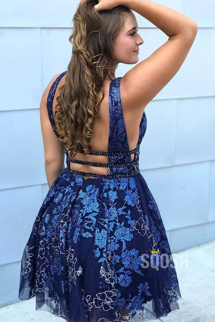 Deep V Neck Blue Lace A-Line Short Homecoming Dress QH0833|SQOSA