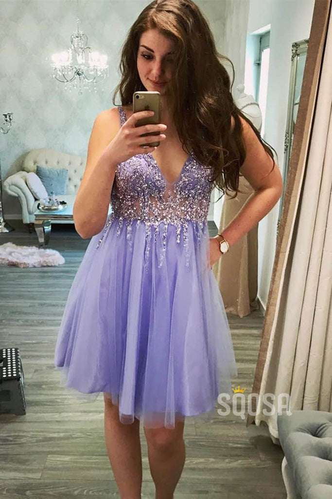 Sexy V Neck Illusion Tulle Beaded A-Line Short Homecoming Dress QH0834|SQOSA