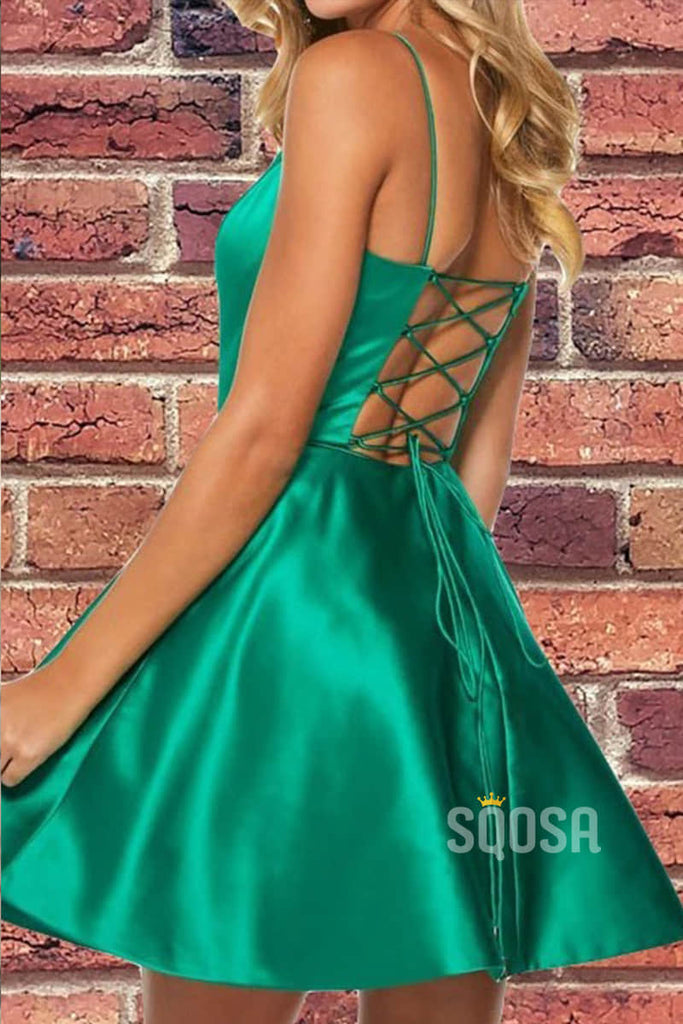 Criss Cross Straps Satin A-Line Simple Hoemcoming Dress QH0839