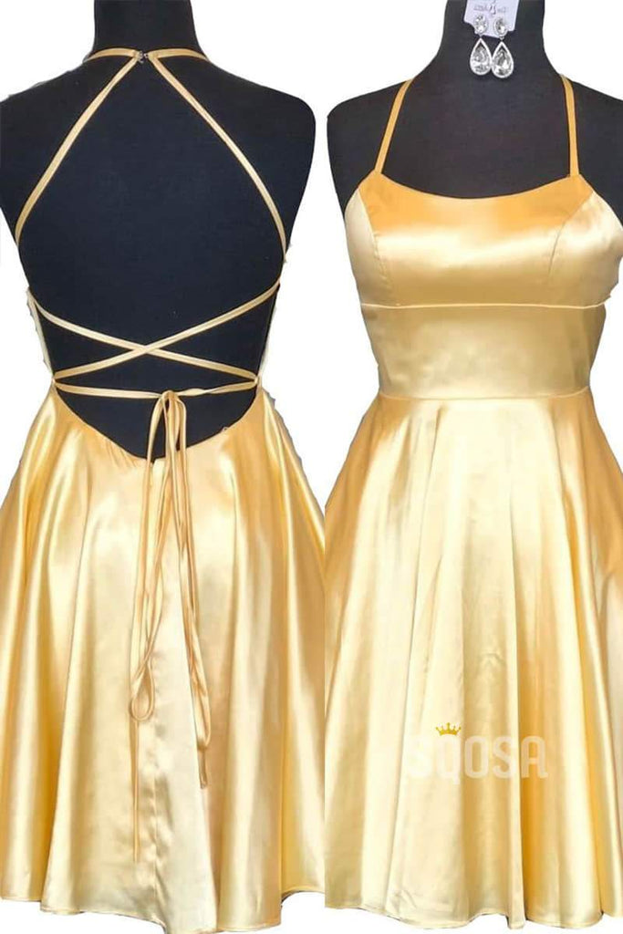Yellow Satin Criss Cross Straps Simple Homecoming Dress QH0840|SQOSA