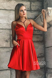 Deep V-Neck Satin Spaghetti Straps Simple Homecoming Dress QH0842|SQOSA