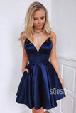 Deep V-Neck Satin Spaghetti Straps Simple Homecoming Dress QH0842