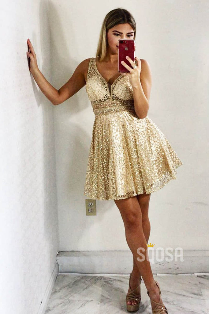 Double Straps V-neck Sequins A-Line Cheap Homecoming Dress QH0844|SQOSA