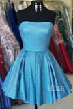 Strapless Blue A-Line Sparkle Homecoming Dress Short Prom Dress QH0846|SQOSA