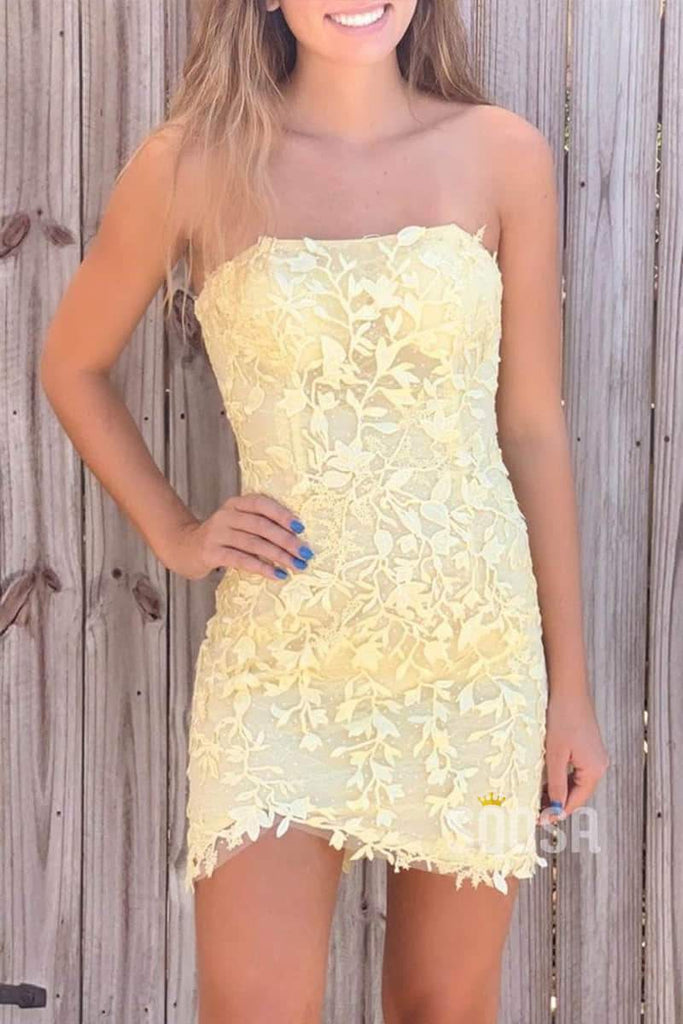Sheath/Column Strapless Appliques Short Homecoming Dress QH0847|SQOSA