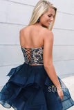 Two Piece Homecoming Dress Navy Blue Organza Beaded Top Short Prom Dress QH0851|SQOSA