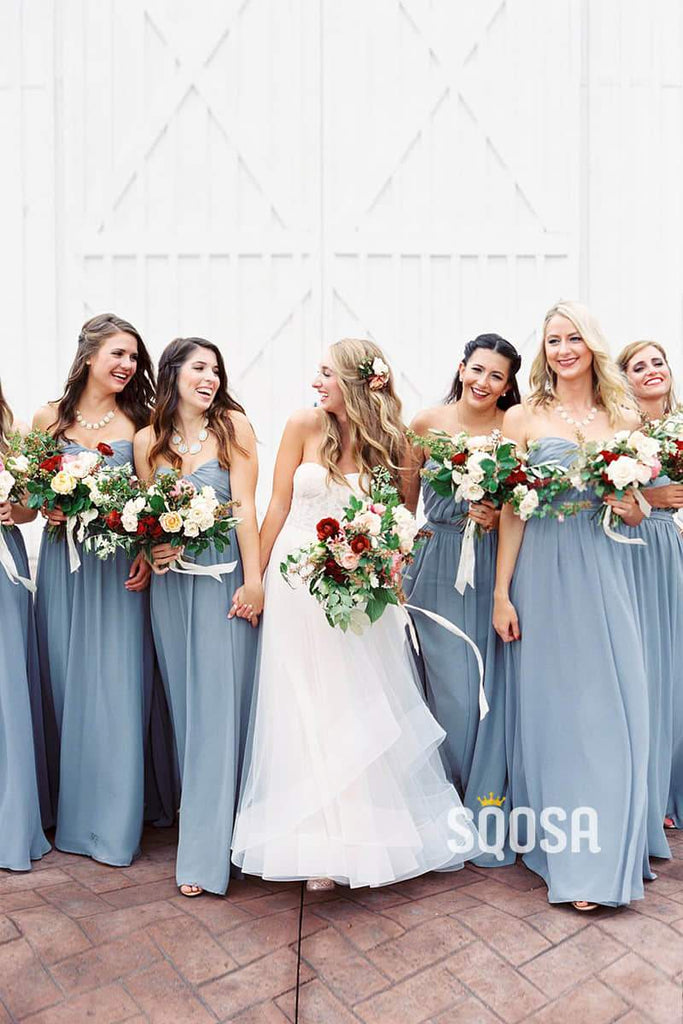 Sweetheart Sky Blue Chiffon Pleat A-Line Long Bridesmaid Dress QB0833|SQOSA