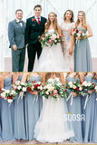 Sweetheart Sky Blue Chiffon Pleat A-Line Long Bridesmaid Dress QB0833