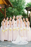 A-line Halter Pink Chiffon Long Bridesmaid Dress Floor Length QB2088