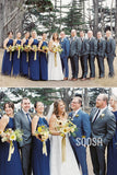 A-line Unique Halter Royal Blue Chiffon Long Bridesmaid Dress Floor Length QB2085|SQOSA