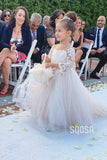 Stunning Tulle Appliques 3/4 Sleeves A-line Flower Girl Dress QF0820|SQOSA