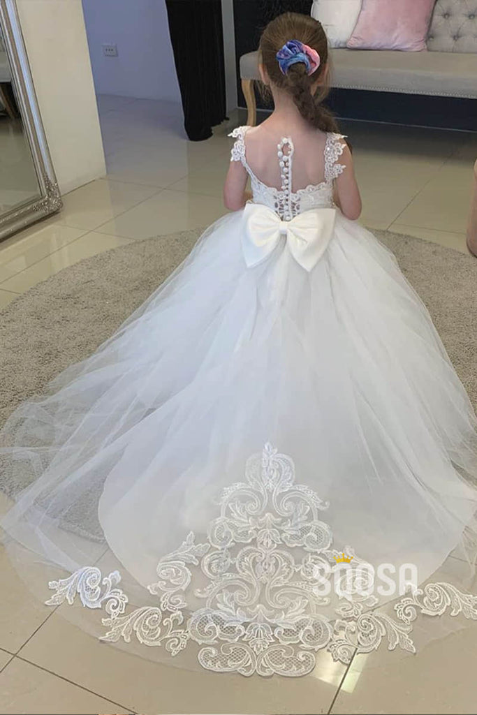 Sweet Tulle Appliques Ball Gown Cute Flower Girl Dress Bow Back QF0822