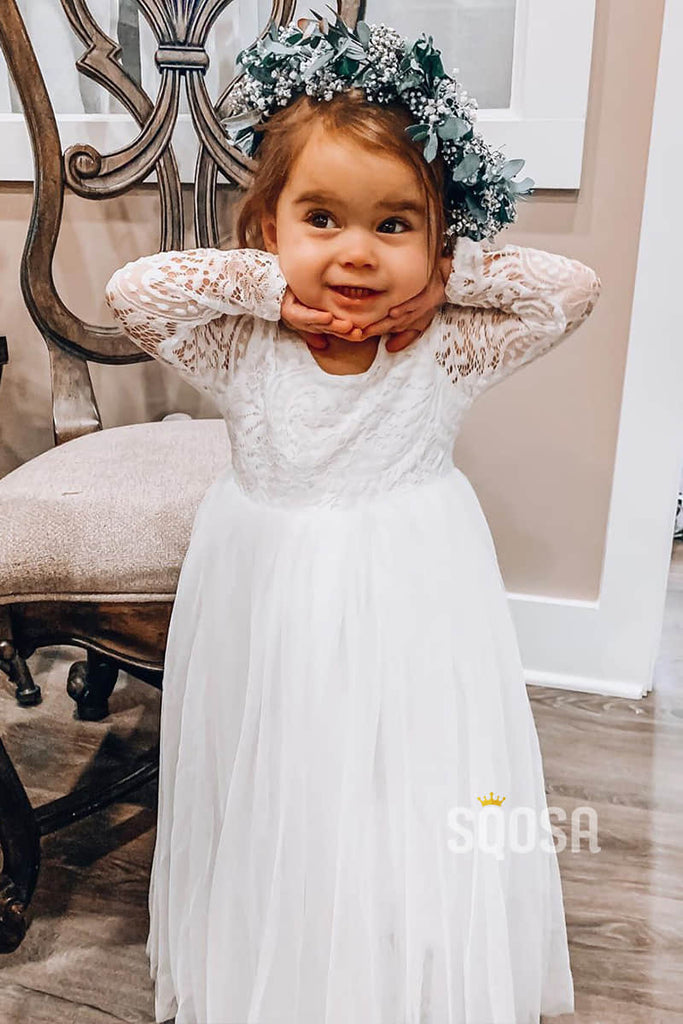 Illusion Lace Long Sleeve A-Line Cute Flower Girl Dress QF0824