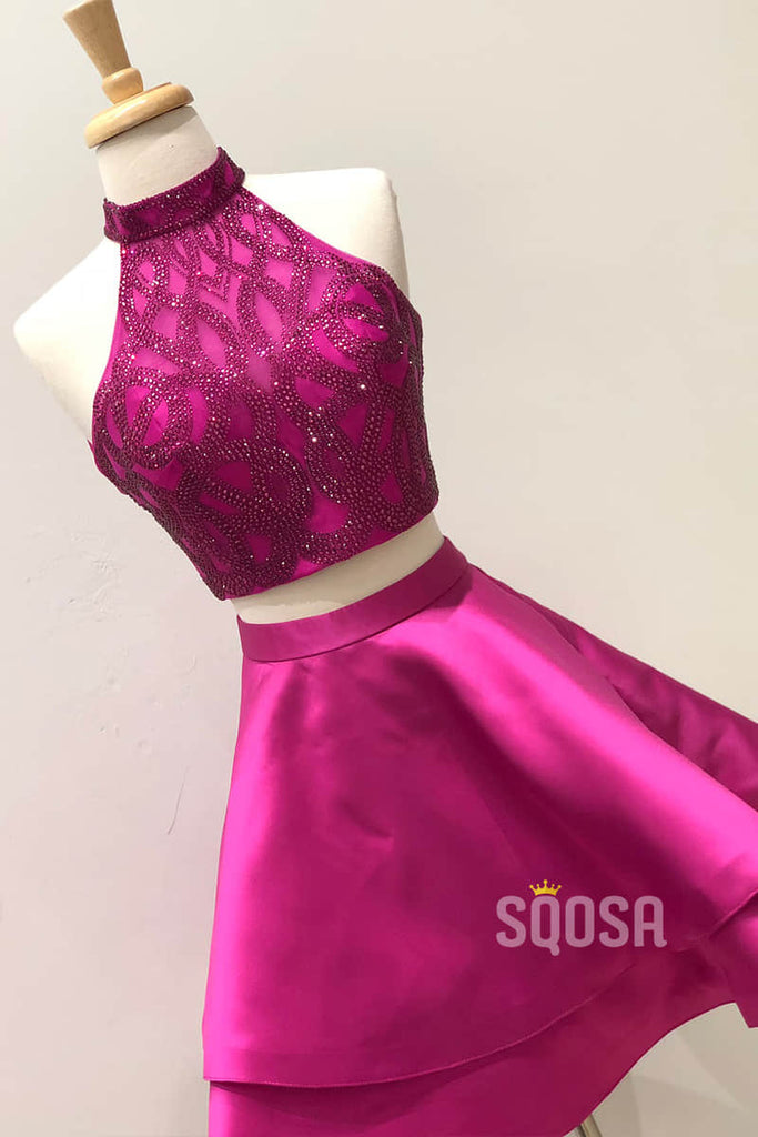 Jewel Neckline Fuchsia Satin Beaded Two Piece Homecoming Dress QH0860|SQOSA