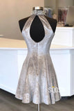 High Neck Beaded Grey Velvet A-Line Short Homecoming Dress QH0866|SQOSA