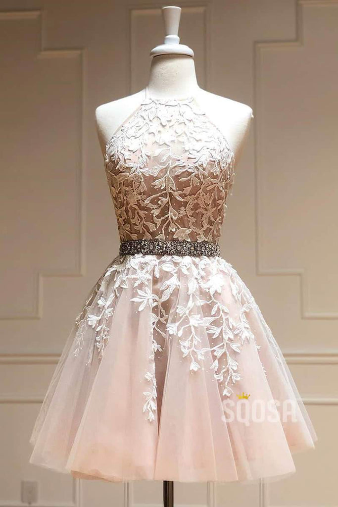 Jewel Neckline A-Line Tulle Appliques Short Homecoming Dress QH0867|SQOSA