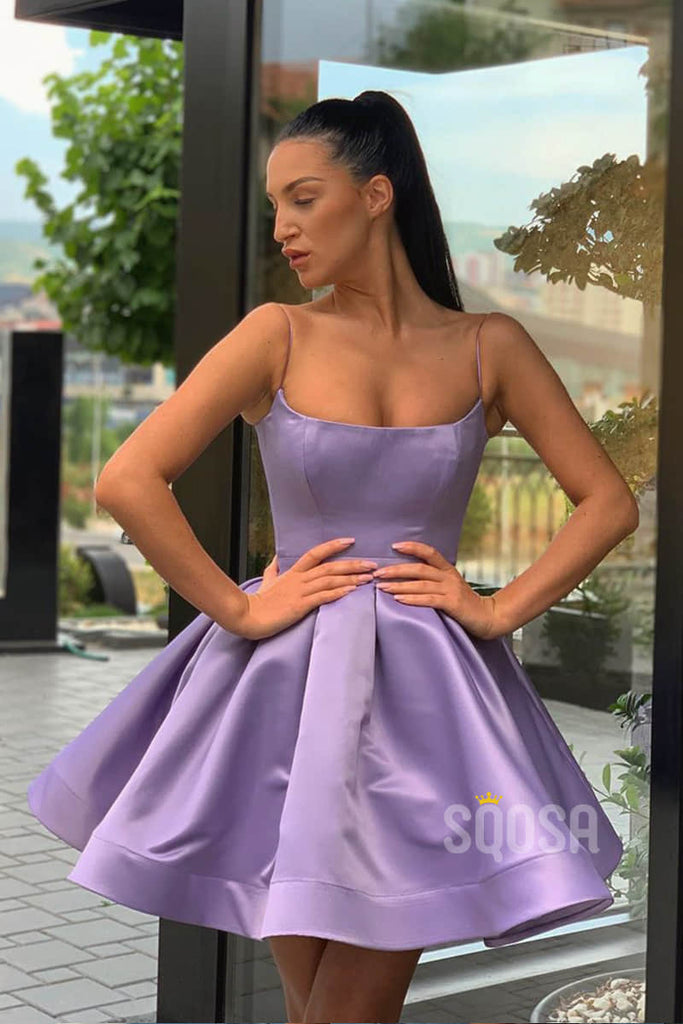Lilac Satin Scoop Spaghetti Straps Cute Homecoming Dress Short Prom Dress QH0872