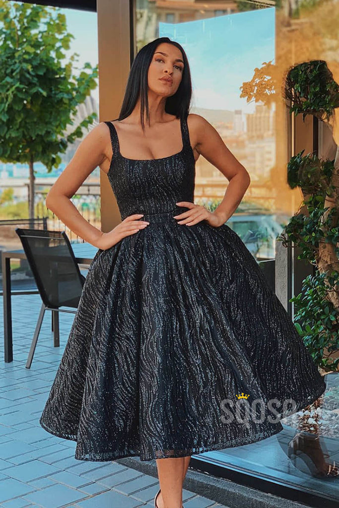 A-line Scoop Black Lace Homecoming Dress Tea Length Short Prom Dress QH0873