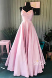 A-Line Spaghetti Straps V Neck Pink Satin Long Prom Dress QP0841|SQOSA