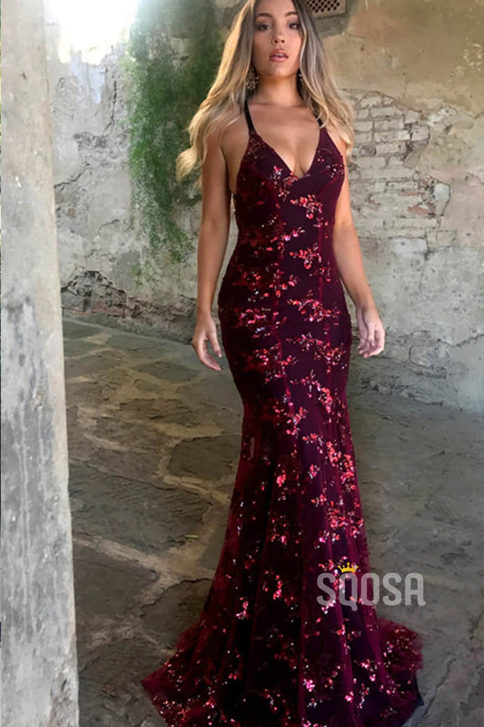 Mermaid Burgundy Sequined V Neck Sexy Prom Dress Party Gown QP0847|SQOSA