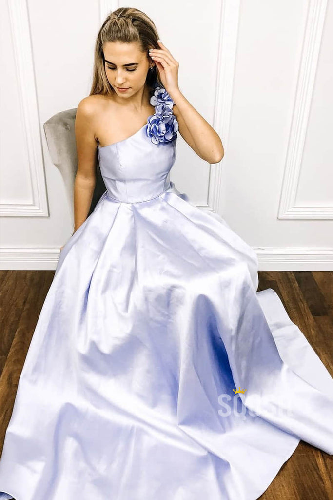 One Shoulder 3D Flowers A-Line Simple Prom Dress Long Homecoming Dress QP0853|SQOSA