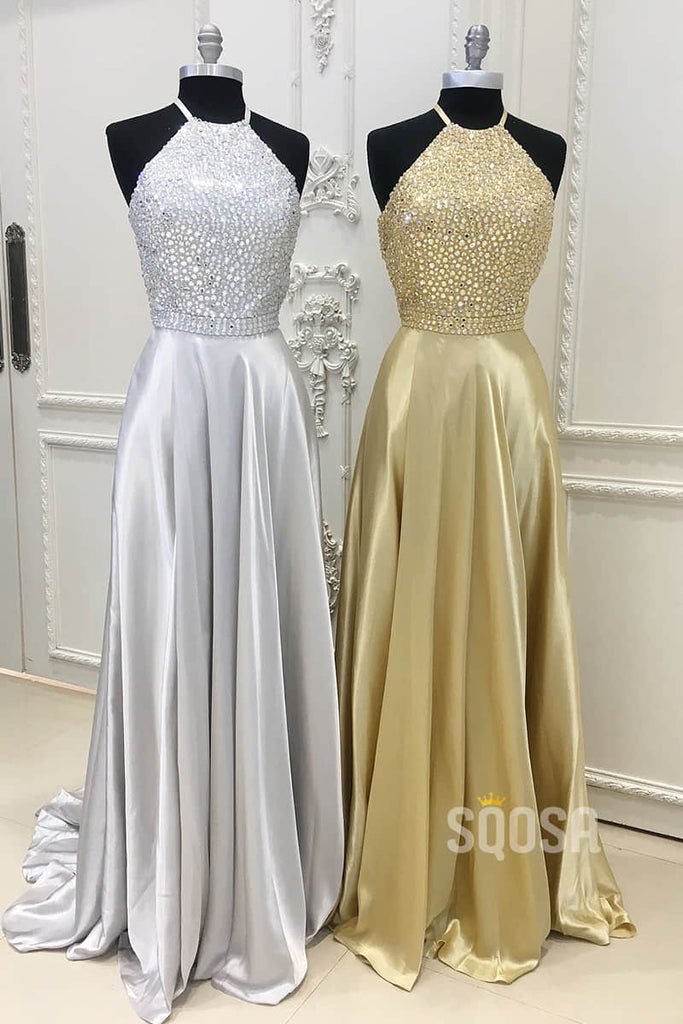 Halter Sleeveless Beaded Bodice A-Line Long Prom Dress QP0862|SQOSA