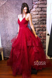 Spaghetti Straps V Neck Tulle A-Line Simple Prom Dress QP0863|SQOSA