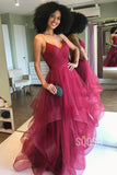 Spaghetti Straps V Neck Tulle A-Line Simple Prom Dress QP0863