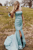 Mermaid Strapless Blue Sparkly Prom Dress with Slit QP0866|SQOSA