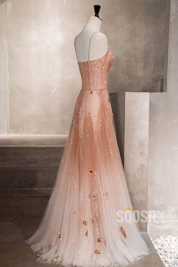 Chic Omber Spaghetti Straps V Neck A-Line Long Prom Dress QP0870|SQOSA