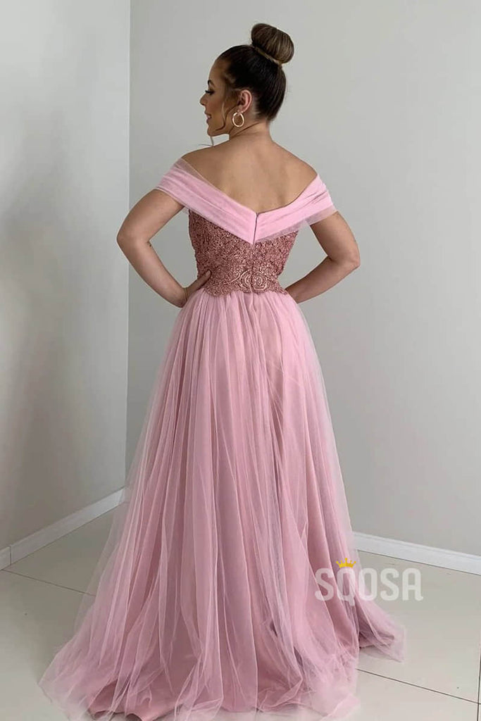 Off-the-Shoulder Beaded Bodice A-Line Long Prom Dress Evening Dress QP0874|SQOSA