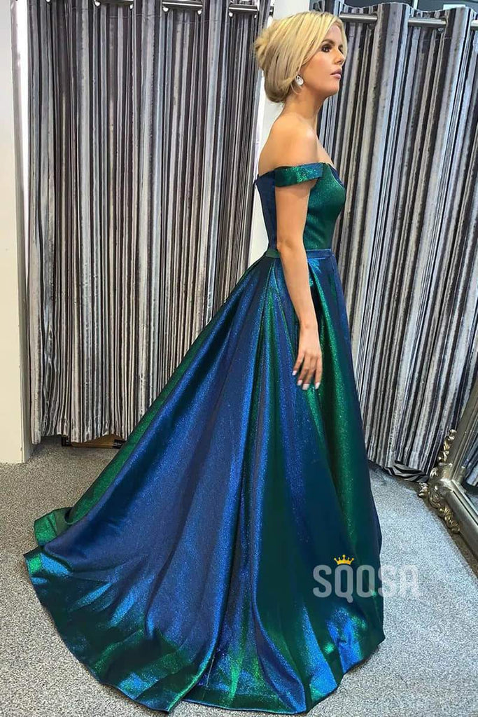 Off-the-Shoulder A-Line Sparkly Prom Dress with Sweep Train QP0875|SQOSA