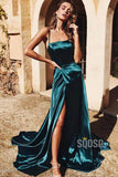 A-Line Spaghetti Straps Sexy High Split Long Prom Dress with Sweep Train QP0880|SQOSA