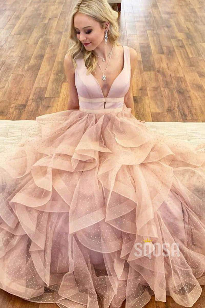 A-Line Ruffle Tulle V Neck Long Prom Dress Sweet 16 QP0881|SQOSA