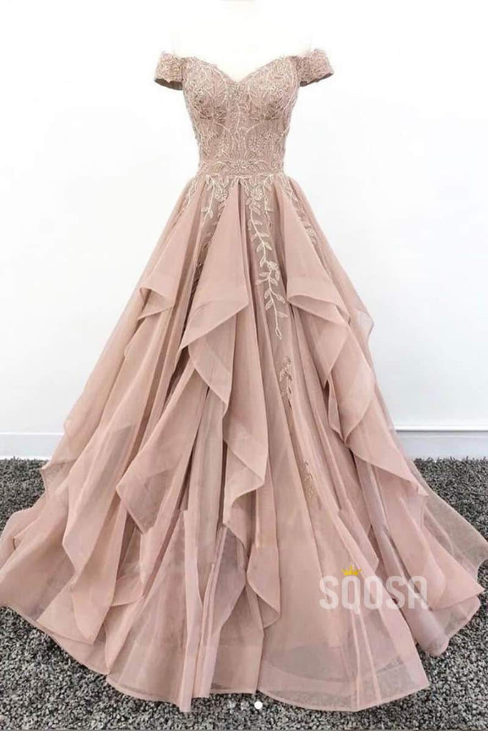 Off-the-Shoulder Dusty Pink Tulle Appliques A-Line Long Prom Dress QP0885|SQOSA