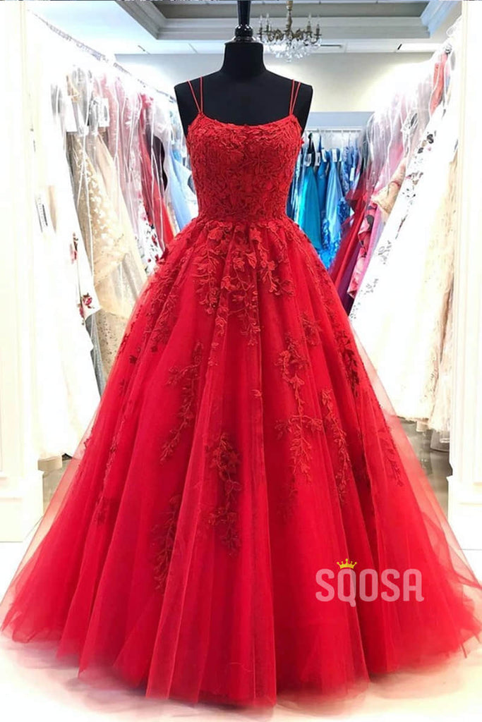 Red Tulle Appliques Spaghetti Straps A-Line Long Prom Dress Lace-Up QP0887|SQOSA