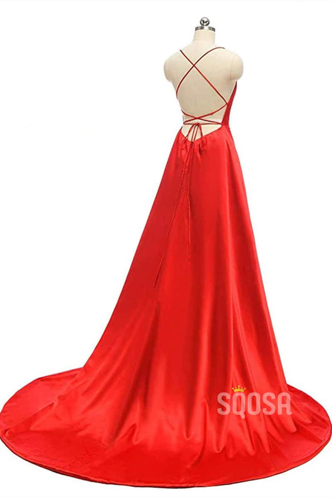 Burgundy Stretch Satin Sexy High Split A-Line Simple Prom Dress with Pockets QP0889|SQOSA