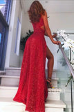 Burgundy Sequined Sexy Deep V-neck Split Party Dress Long Prom Dress QP0896|SQOSA