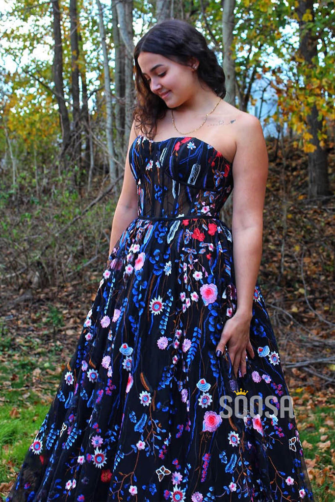 Sweetheart Floral Tulle A-Line Long Prom Evening Dress QP1044|SQOSA