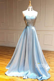 Sky Blue Satin Sweetheart A-Line Simple Prom Dress Long Formal Evening Gowns QP1047|SQOSA