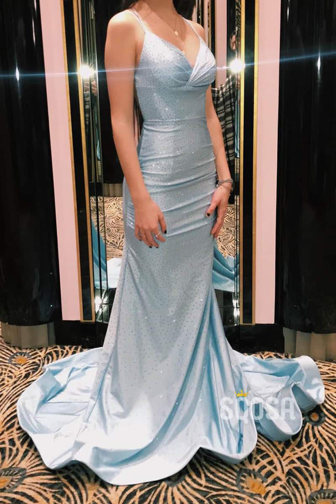 Trumpet/Mermaid Sky Blue Sequins Spaghetti Straps Sparkle Prom Dress Formal Evening Dress QP1048|SQOSA