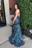 Mermaid Spaghetti Straps V Neck Long Prom Dress Evening Gowns with Sweep Train QP1049|SQOSA