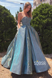 Sweetheart Ball Gown Pleat Sparkle Long Prom Dress with Pockets Formal Evening Dress QP1052