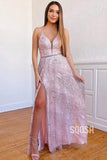 A-Line Sequins V-neck Spaghetti Straps Long Prom Dress with Slit Party Dress QP1054|SQOSA