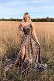 Unique Leopard Print One Shoulder A-line Long Prom Dress with Slit QP1056|SQOSA