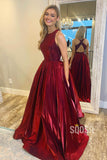 A-Line Burgundy Satin Criss Cross Simple Prom Dress with Pockets Homecoming Dress QP0922|SQOSA