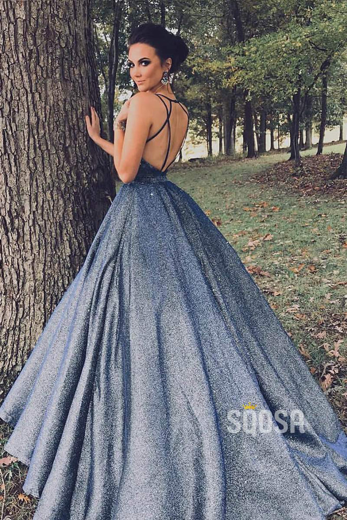 Criss Cross Straps V-neck Navy Blue Satin Sparkle Prom Dress Evening Gowns QW0924|SQOSA