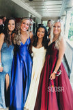 A-Line Burgundy Satin V-neck Simple Prom Dress Long Homecoming Dress QP0925|SQOSA