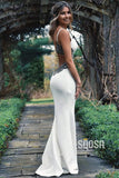 Attcactive V-neck Spaghetti Straps Beaded White Mermaid Prom Dress QP0928|SQOSA